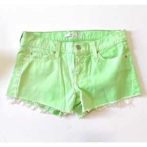 7 For All Mankind light green cut off jean shorts